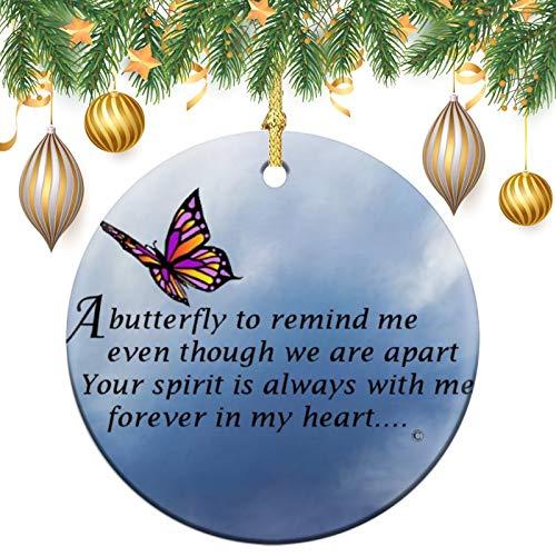 Weihnachtsdekoration, Schmetterlings-Gedicht, Weihnachtsbaum, rund, Keramik, Andenken, Dekoration