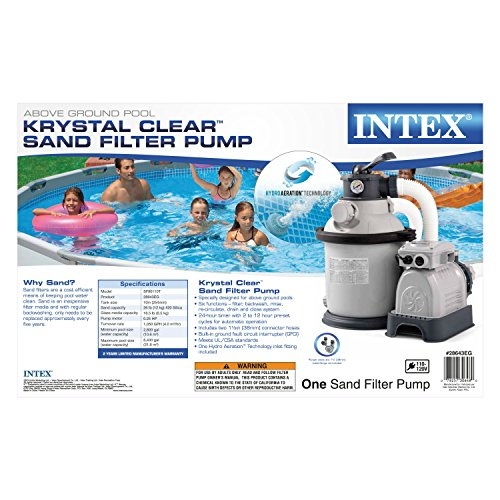 Intex Krystal Clear Sand Filter Pump for Above Ground Pools, 10-inch, 110-120V with GFCI