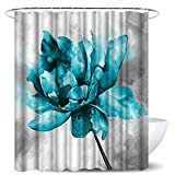 Teal Blue Flower Shower Curtain Sets Blue Floral on Grey Background Polyester Fabric Bath Curtain with 12 Hooks Modern Bathroom Home Decor 72 x 72 Inches