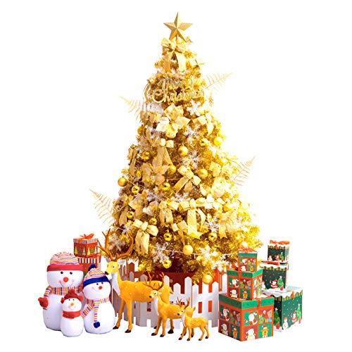 VeroMan クリスマスツリー ゴールド LEDライト オーナメント 飾り付き 豪華10点セット (120cm)