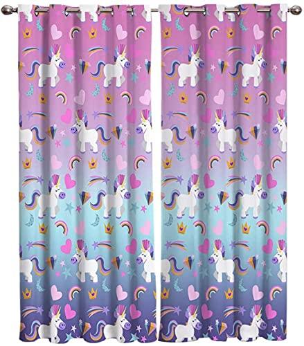 LUOWAN Cortina Opaca Microfibra Infantil - 183x160 cm - Rosa Colorido Animal Unicornio - 95% Opaca Cortina aislantes de frío y Calor Decorativa con Ojales Estilo para Salón Habitación y Dormitorio