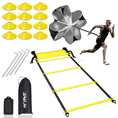 OFYDNR Speed Agility Training Set - 12 Rung 20Ft Agility Ladder, 12 Field Cones, 4 Steel Stakes, Resistance Parachute with Carrying Bag for Soccer Basketball Football Boxing Footwork Sports Training