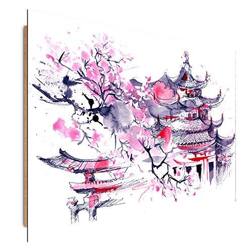 Feeby Frames, wandafbeelding, deco afbeelding, gedrukte afbeelding, deco panel, afbeelding, JAPANISCHE KERSCHBAUM, ABSTRAKT, LILA 30 x 40 cm.
