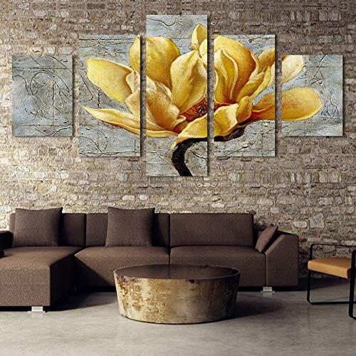 5 Paneles Lienzo Oro orquídea Flor Moderna decoración del hogar para Sala de Estar Pared Arte Imagen HD Impreso póster Ilustraciones