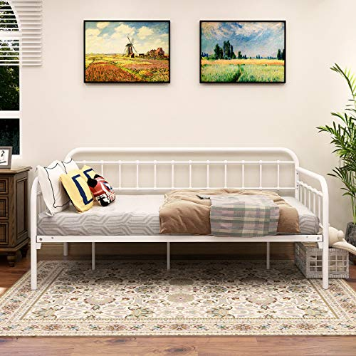 JURMERRY Metal Daybed Frame,Twin Size with Steel Slats Platform Furniture (White)