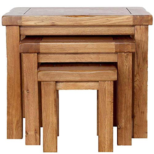 Nest of Tables Original OAK Solid Retro Style Wooden Side Nesting Wood End Coffee Lamp Table Rustic Sets