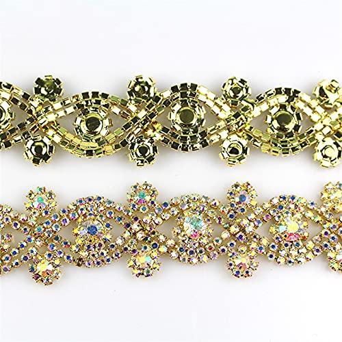 BJKKM Cadena de Copa de Diamantes de imitación 1 Tamaño X Forma AB Color Rhinestone Rhinestone Cinta de Cadena de Metal, usada para Vestido, Bolsa, Accesorios de Zapatos Usado para; Coser/Adhesivo