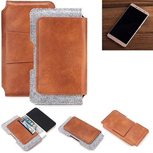 K-S-Trade® Schutz Hülle Für Cubot Cheetahphone Gürteltasche Gürtel Tasche Schutzhülle Handy Smartphone Tasche Handyhülle PU + Filz, Braun (1x)