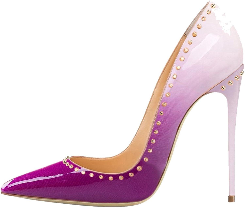 Cuckoo Women's Stiletto Heeled shoes Pointed Toe Classics Rivets Dress Pumps