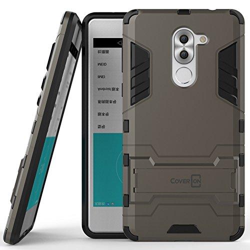 Huawei Honor 6X Case, Huawei Mate 9 Lite Case, CoverON [Shadow Armor Series] Hard Slim Hybrid Kickstand Phone Cover Case for Huawei Honor 6X or Mate 9 Lite- Gray