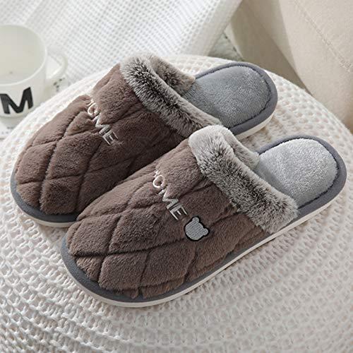 YQSHOES Damen Hausschuhe Hausschuhe mit rundem Zehenbereich, Winter, Damen, ohne Schnürsenkel, Braun, 41 ~ 42 EU/8,5 UK/9,5 US