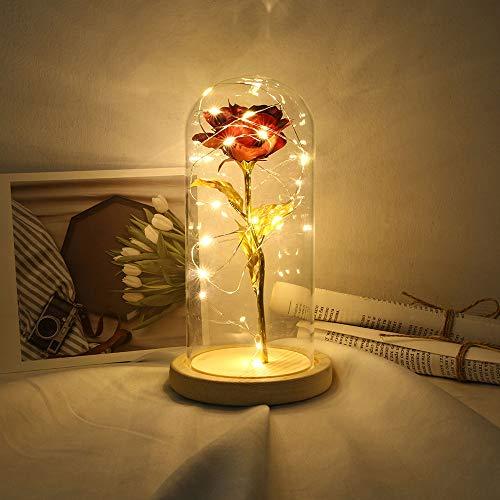 Fesjoy Flor de Rosa Preservada Rosa de Seda y Luz LED con Cúpula de Cristal Base de Madera Marrón Cubierta para Decoración Boda Fiesta Cumpleaños Aniversario San Valentín Día de la Mad