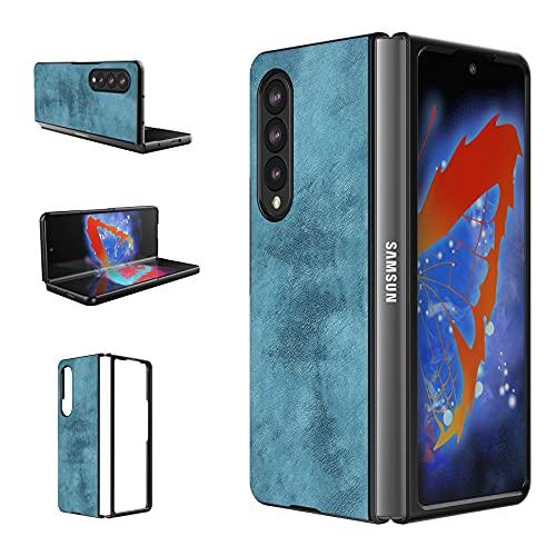 Foluu Galaxy Z Fold 3 5G Hülle, für Samsung Galaxy Z Fold 3 5G Lederhülle, PU Leder + Harte PC Schale Ultra Dünn Slim Durable Protective Phone Hülle Cover für Samsung Galaxy Z Fold 3 5G 2021 (Blau)