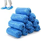Shoe Covers, 100 Pack(50 Pairs) Shoe Covers Disposable Non Slip, Plastic Booties for Shoe Covers Waterproof, Shoe Covers for Indoors Outdoors, Large Size Fits Woman Men Shoes, Protectors Shoes Blue