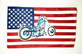 AZ FLAG Flagge USA MIT Motorrad 150x90cm - VEREINIGTEN Staaten VON Amerika Fahne 90 x 150 cm - flaggen Top Qualität