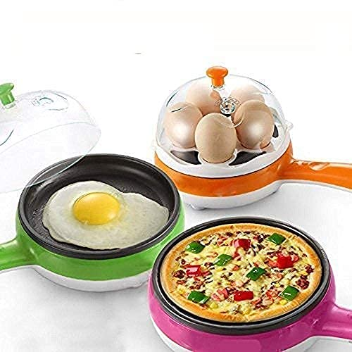 ORZIX 2 in 1 Electric Egg Boiling Boil-Dry Temperature Protection New Unique Multifunctional Steamer Egg Frying Pan Egg Boiler Electric Automatic Off with Egg Boiler Machine Non-Stick Electric Egg Frying Pan (Multi)