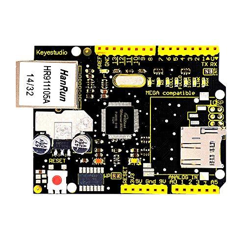KEYESTUDIO W5100 Ethernet Shield de expansión para Arduino MEGA2560 R3 con Ranura para Tarjeta SD