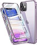 Vidrio Templado HD Clara Funda con protección de Lente cámara para iPhone 12 5G 6.1',Compatible con Magnético Parachoques Estructura de Metal,protección de 360 Grados,Anti-Choques Cover,Púrpura