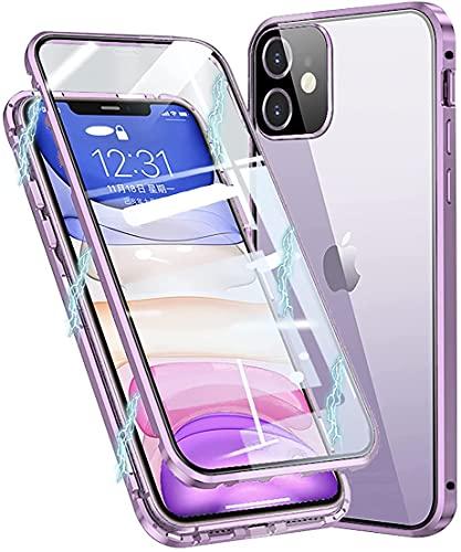 """Funda Compatible iPhone 12 5G Carcasa 6.1"""" Magnética Adsorcion, Protección 360 Grados Antigolpes+[protección de cámara],HD Cristal Templado Transparente,Anti-arañazos,Manchas,Púrpura"""