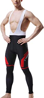 X-TIGER Men's Cycling Bib Pants Winter,5D Padded Cycling Bike Tights,Thermal Compression Bicycle Leggings