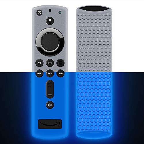 Custodia per Telecomando Fire TV Stick 4K/4K Ultra HD con il Nuovo 2a Gen Alexa Voice Telecomando, Leggera Antiscivolo Antiurto Custodia in Silicone per Remote Controller-Glow Blue