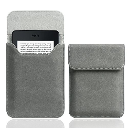 WALNEW 6 Inch Kindle Sleeve for All-New Kindle 2019/Kindle Paperwhite (Included 2018 Version)/Kindle Voyage/Kindle (8th Gen, 2016)/Kindle 4/5/Kindle Touch Protective Pouch Bag Case Cover, Gray