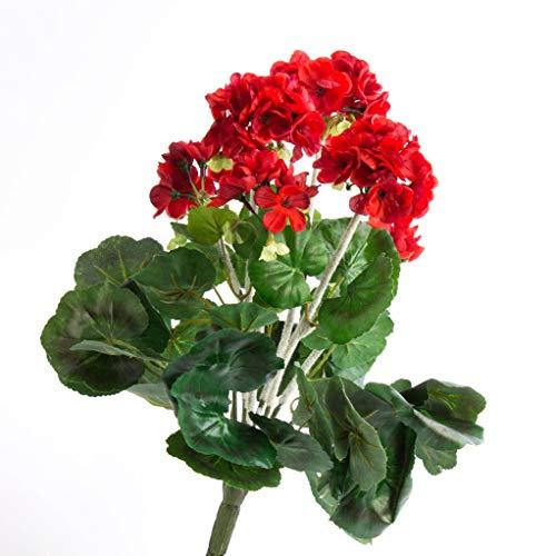 artplants.de Set 2 x Decorativo Geranio MIEKE en Vara, Rojo, 30cm, Ø 25cm - 2 Unidades de Planta Artificial - Flor sintética