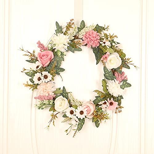 SFTYUFS Corona de hortensias de peonías artificiales de 15.7 pulgadas, corona de flores de peonía para puerta de bienvenida, flores falsas vintage