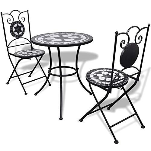 SOULONG Juego de jardín Mesa de Mosaico con 2 sillas, Mesa de bistrot con sillas para Zona salón, balcón, Mesa de balcón con sillas de Azulejos de cerámica, Nero e Bianco
