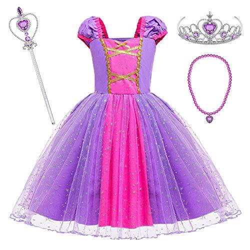 Tacobear Prinzessin Kostüm Kinder Mädchen Prinzessin Kleid mit Prinzessin Zauberstab Halskette Krone Halloween Karneval Party Verkleidung für Kinder 2 3 4 5 6 Jahre(110cm)