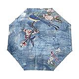 Mr.Lucien Paraguas de viaje plegable automático con diseño de mariposa, diseño de flores y mariposas, con protección UV 2020071