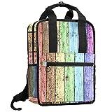 KAMEARI Mochila Universitaria Libros Bolsa de Hombro Libreros Color Arco Iris Grungy Madera Patrón de Piso