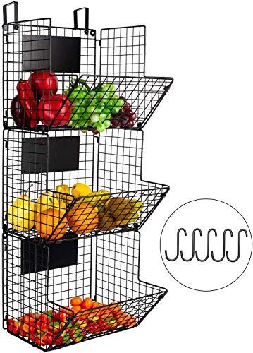 Cesto di frutta da cucina con supporto a 3 ripiani organizer da cucina per frutta e frutta, cestino porta asciugamani da bagno con supporto per frutta e prodotti rustici a Z (montaggio a parete)