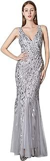 Beauty-Emily V Neck Long Mermaid Appliques Formal Evening Dresses