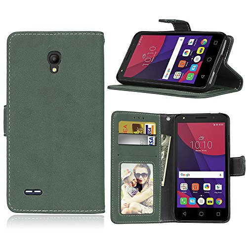 SATURCASE Alcatel One Touch Go Play/Conquest Hülle, Retro Mattiert PU Leder Magnetverschluss Brieftasche Standfunktion Schutzhülle Handy Tasche Hülle für Alcatel One Touch Go Play/Conquest (Grün)