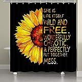 JAWO Sonnenblumen-Duschvorhang, Herbst-Ölgemälde Blume mit Motivationsworten Schwarz & Gelb Kunst Badvorhang für Badezimmer