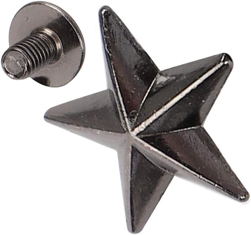 Color de la pistola bricolaje para bolsos de zapatos artesan/ía de cuero tachuelas y picos de estrella de Metal 30 juegos de remaches de estrella de aleaci/ón de zinc con tornillo de 14 mm