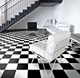 Pavimento in PVC per pavimenti in vinile, in scacchiera, nero e bianco, taglio (2 m di larghezza, 7 m di lunghezza)