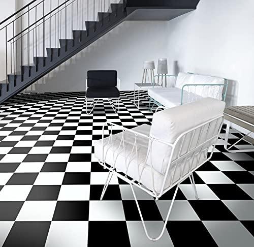 PVC Bodenbelag Vinylboden in Schachbrett schwarz weiß (9,95€/m²), Zuschnitt (2m breit, 4m lang)