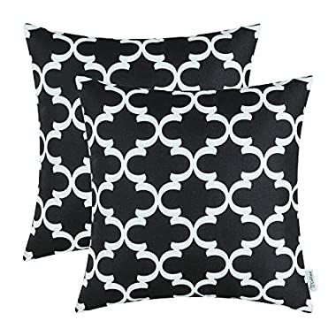 CaliTime Pack of 2 Soft Canvas Throw Pillow Covers Cases for Couch Sofa Home Decor Modern Quatrefoil Accent Geometric 18 X 18 Inches Black