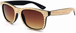 Fashion Men Women Vintage Personality Colored Lens Wood Sunglasses UV Protection Handmade for Retro (Color : Orange)