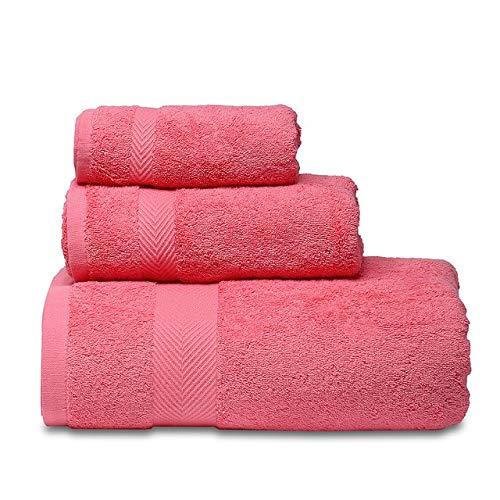 Heliansheng Juego de Toallas Suaves, Toalla de baño de algodón Puro, Calidad de baño súper Absorbente Hotel -Red-3pcs