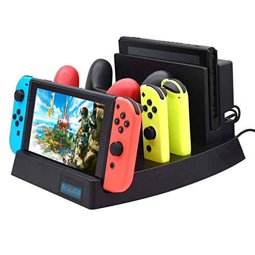 Expresstech Ladestation Ladegerät mit 4 Akkus Batterien Batteriefachdeckel kompatibel mit Nintendo Wii Wii U Fernbedienung Wii-Fernbedienung Wiimotes Remote Controller - Schwarz