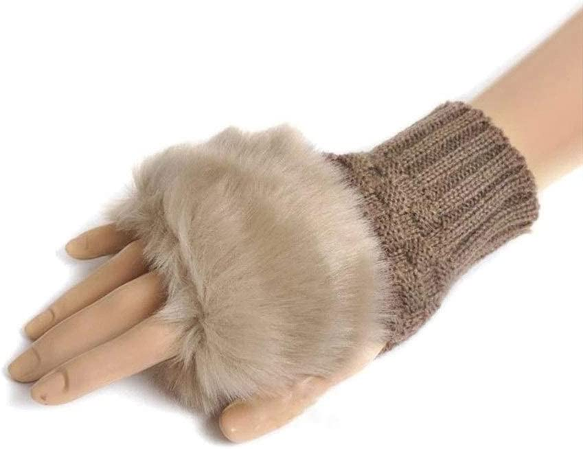 FASGION Winter Gloves Female Fingerless Gloves Without Fingers Pompom Faux Fur Wrist Mittens Knit Patchwork Guantes Plush Gloves (Color : Khaki, Gloves Size : One Size)