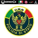 erreinge Sticker Polizia di Stato Adesivo Sagomato in PVC per Decalcomania Parete Murale Auto Moto Casco Camper Laptop - cm 10