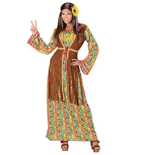 Karneval-Klamotten Hippie Kleid Kostüm Damen Flower-Power Kostüm Damen Peace Kleid lang inkl. Peace Kette Damen-Kostüm