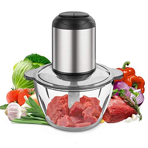 Kuopry - Picadora eléctrica de alimentos para carne, verduras, frutas y frutos secos, 2 L sin BPA, tazón de vidrio de 350 W,...