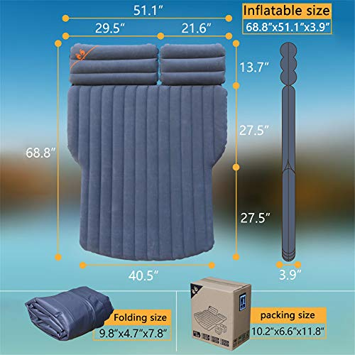 ETE ETMATE Car SUV Air Mattress Camping Bed Long Inflatable Pad Camping with Electric Pump Thickened Minivan Truck Quick Inflation/Deflation Fits Universal Car SUV Truck for Rest Sleep Travel Camping