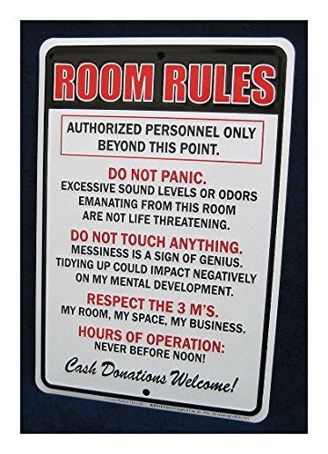 Unbranded Embossed Metal Tin Sign Room Rules Teen Bedroom Man Cave Garage Bar Decor Signs