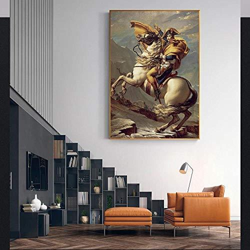 XCPINGYIDU Póster de Pared de Napoleón cruzando los Alpes por Jacques Pinturas en Las reproducciones de Pared Cuadro de Napoleón Cuadros para decoración del hogar 40x60cm sin Marco